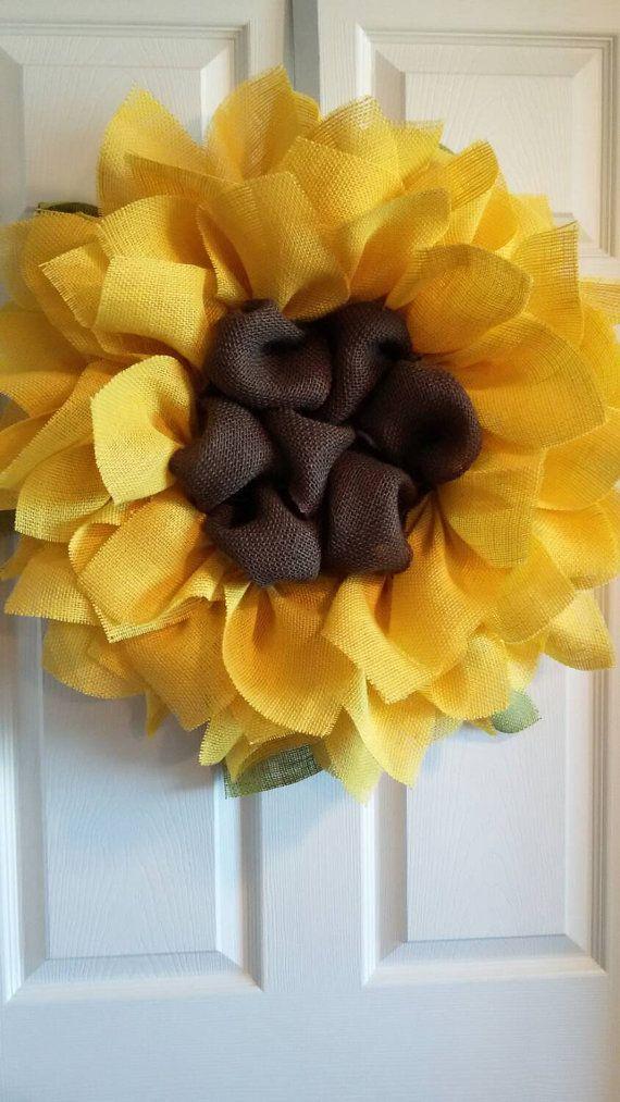 Sunflower Burlap Wreath Front Door Wreaths by DelightfullyQuaint