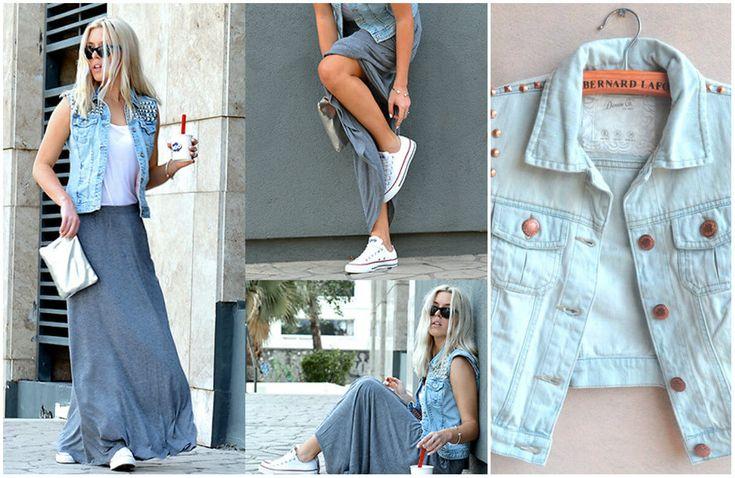 джинсовый жилет с макси-юбкой