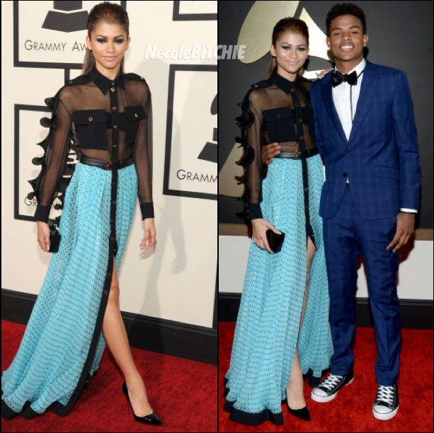 Zendaya Coleman wears Emanual Ungaro dress at Grammy Awards with Trevor Jackson- I really like this dress is great for a woman any age and I think it gives for different sizes too