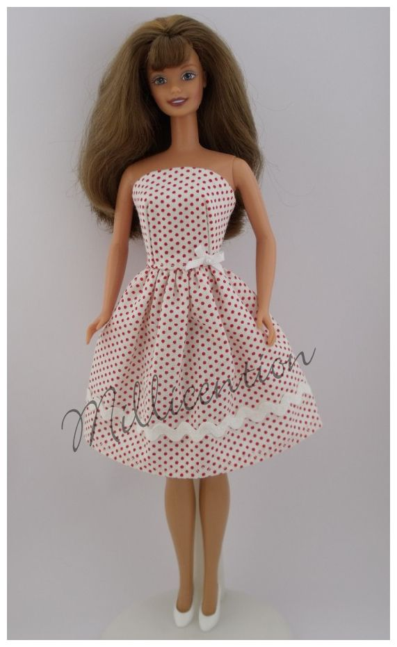 Red and white polka dot Barbie doll dress