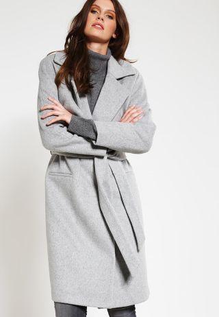 Palton dama lung elegant din stofa groasa