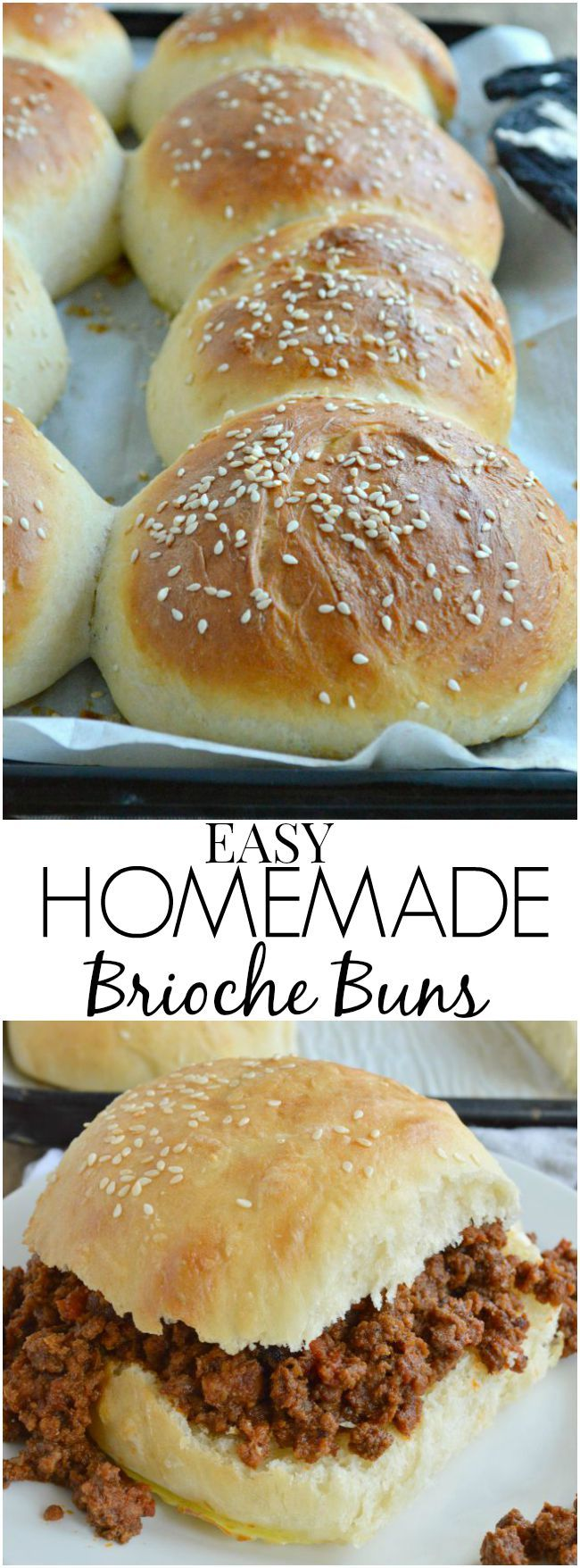 My favorite recipe for big fluffy Homemade Brioche Buns! These are the perfect vehicle for all your burgers and sandwiches. Soft, chewy, carb-a-licious.