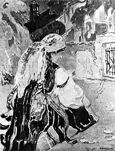APOLONIUSZ KĘDZIERSKI (1861-1939)  A Łowicz Girl in Front of the Church, 1912-1914  Oil on canvas, ... x ...  Sign. b.r.: A. Kędzierski  Owned by Stanisława Fijałkowska-Kędzierska, the artist's wife, in Warsaw.  Lost in August 1944.  Negative MNW no. 227750; photo from repr.  WAR020165