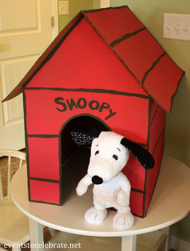 Peanuts Birthday Party Ideas - DIY Snoopy Dog House - Events To Celebrate