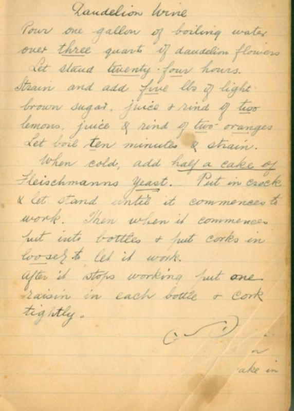 My Irish Grandmother's recipe for Dandelion Wine