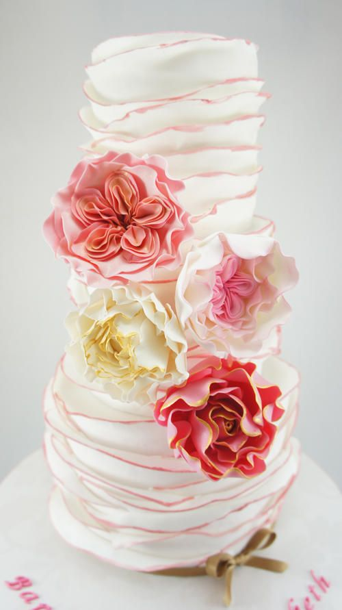 """White and pink ruffles. We can help achieve this look at Dallas Foam with cake dummies, cupcake stands and cakeboards. Just use """"2015pinterest"""" as the item code and receive 10% off your first order @ www.dallas-foam.com. Like us on Facebook for more discount offers!"""