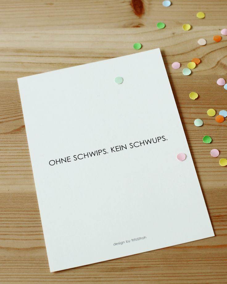 Postkarte OHNE SCHWIPS. KEIN SCHWUPS.
