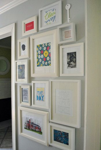 Gallery wall kids art work and framed prints of us