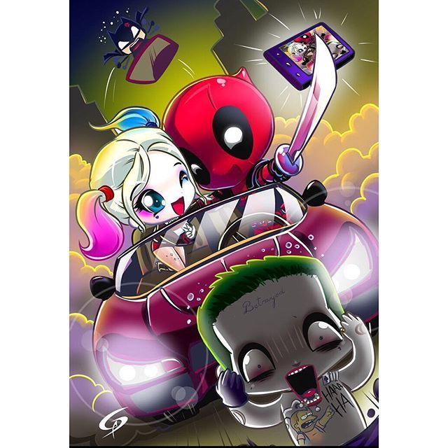Funny as hell Harley Quinn/DeadPool mash up.  Art by Dreamgate-Gad #Art #Batman #Joker #HarleyQuinn ...