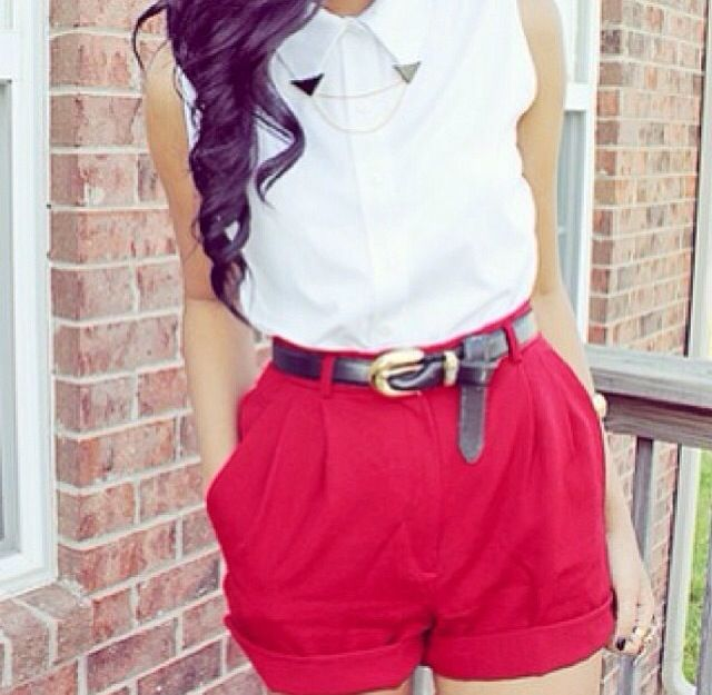 Another pretty nice summer outfit with red shorts and a white blouse It looks great together