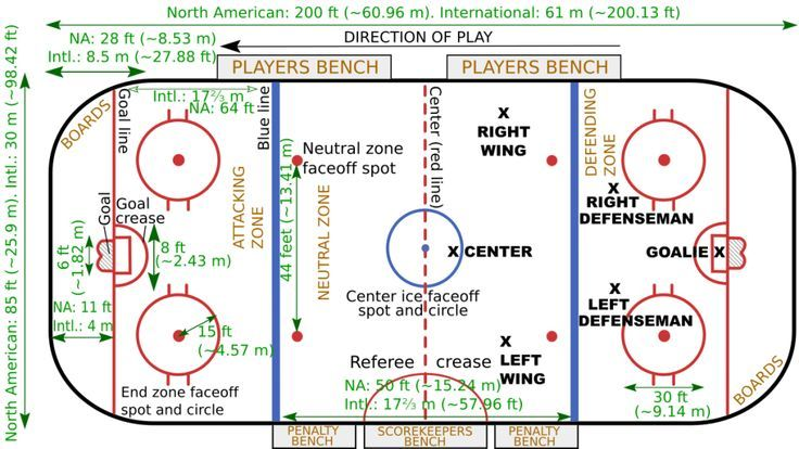 Diagram Of A Regulation Size Ice Hockey Rink With Dimensions And Layout Hockey Rules Ice Hockey Rink Ice Hockey