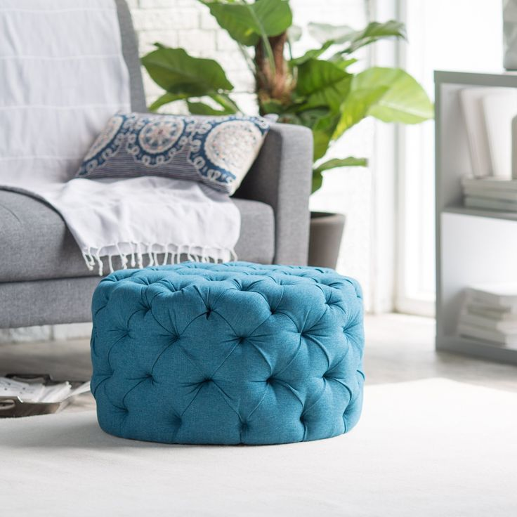 Belham Living Allover Round Tufted Ottoman   Teal   The Belham Living  Allover Tufted Round Ottoman   Teal Has A Slightly Retro Feel With A Strong  ...