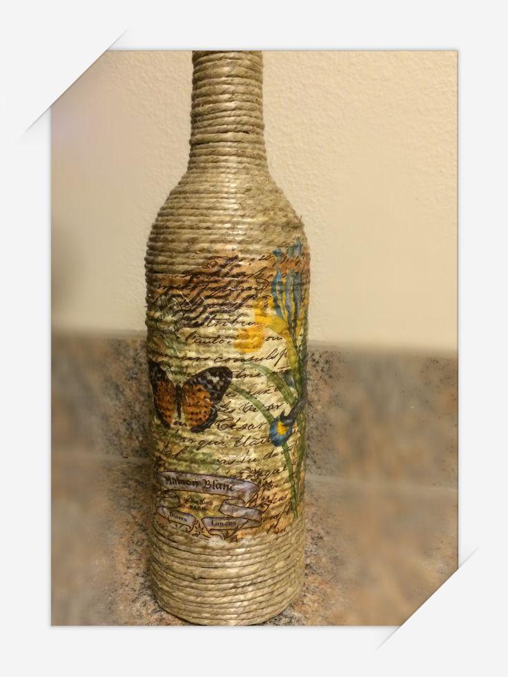 Hemp Twine Wrapped Wine Bottle Modge Podged Napkin On The