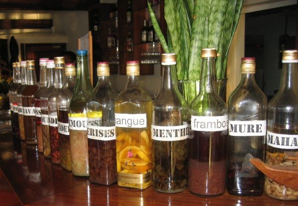 Rhum Arrangé is a selection of homemade rum infused with various fruits and spices, such as lychee, vanilla, cinnamon, ginger etc.