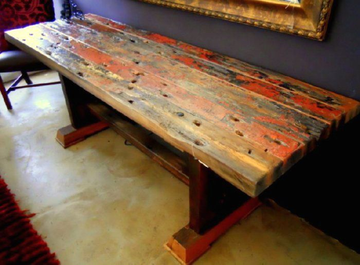 Plank Trestle Table Top Recycled From A Colorful Old Boat