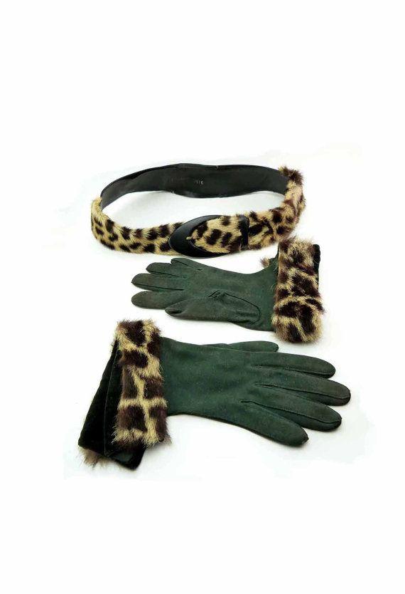 1950s Civet Fur Trimmed Belt & Gloves by seasidecollectibles