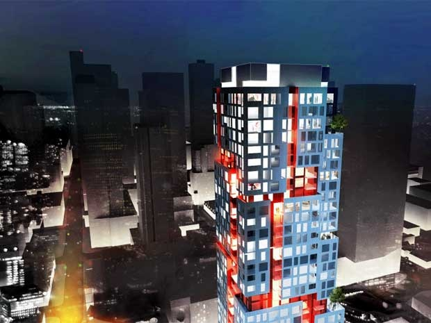 For Sale: Picasso on Richmond. The exterior design of Picasso on Richmond by Teeple Architects resembles a series of white boxes stacked on top of the other, with retail at the base.