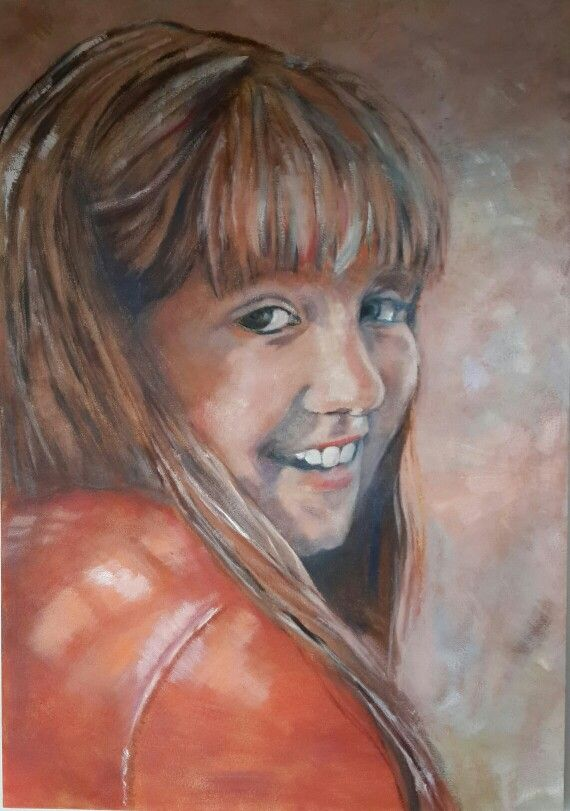 Sweet Girl - Oil on canvas by Christine Joubert