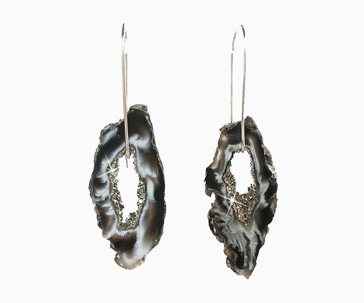 Platinum Geode Slice Druzy Earrings