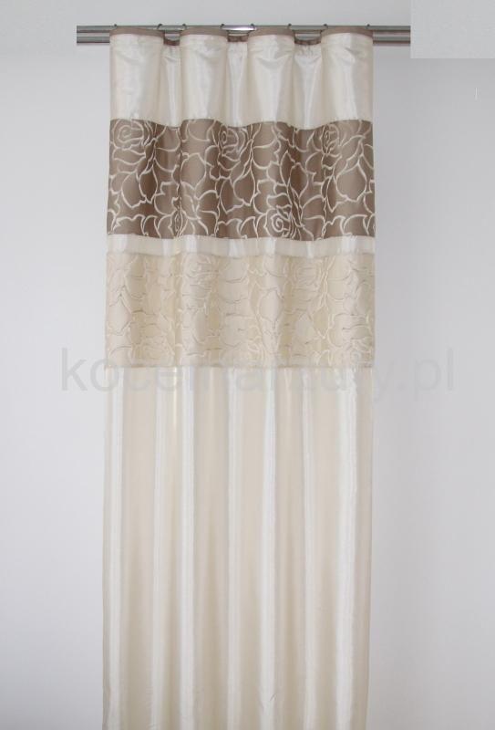 Zasłona modna w kolorze beżowym z cappucinowym ornamentem