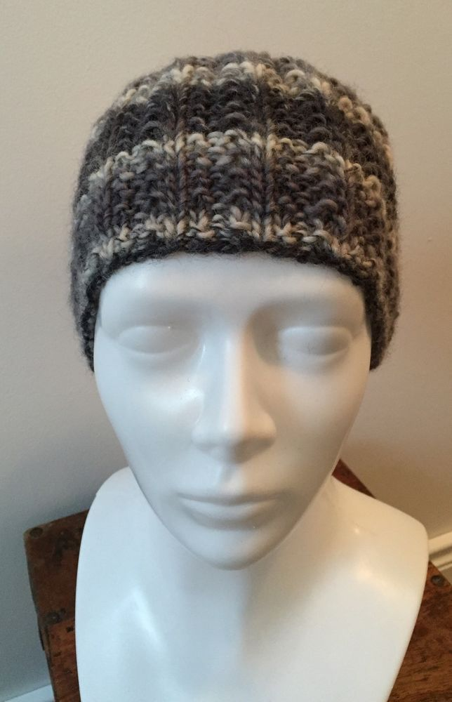 Hand Knit Moss Rib Headband Earwarmer, Knitted Headband, Grey Striped   eBay