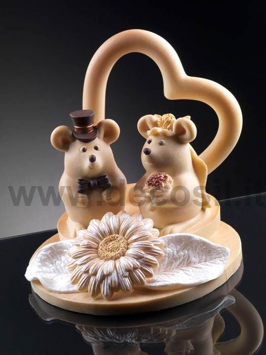 Mouse Bride mold, animal molds cake topper wedding, Bride and Groom Mouse Couple Wedding Cake Topper