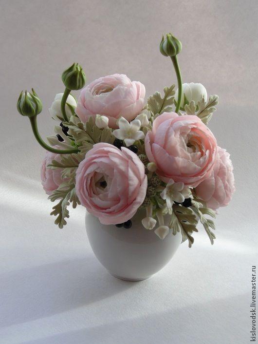 Букет Beautiful. Ранункулюсы из полимерной глины. - бледно-розовый,композиция из цветов