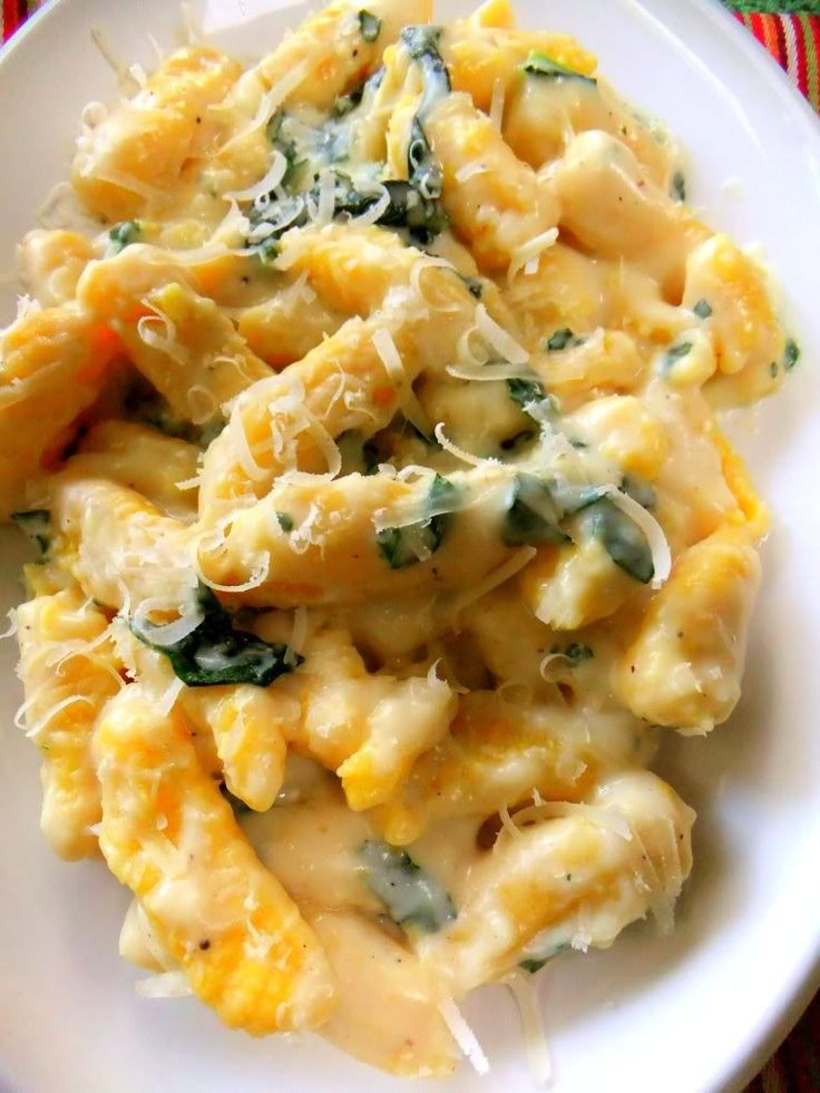 Butternut squash gnocchi in a fontina cheese sauce with torn spinach leaves and parmesan #ProjectLunchBox >> Sounds delicious! via Proud Italian Cook