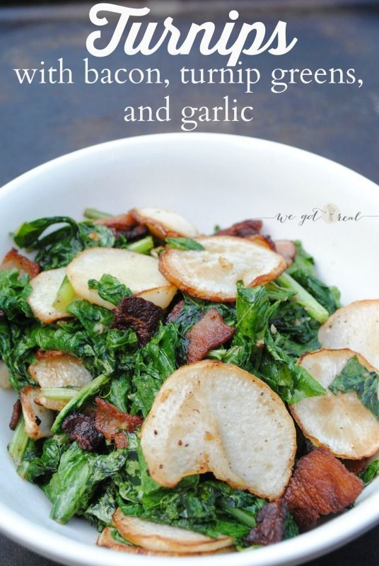 Turnips with bacon, turnip greens, and garlic.  A simple and delicious way to prepare the humble turnip.  Paleo.  Trim Healthy Mama-S