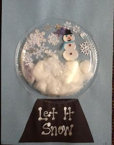 I traced the outline of the plate on the paper and gave them the snowman and snowflake stickers. They glued cotton on the bottom of the circle and added their stickers to the scene. Then, they glued their black base on the paper. I hot glued the clear plates on top and added clear glitter and snowflake confetti so they could shake it up like a true snow globe | best stuff
