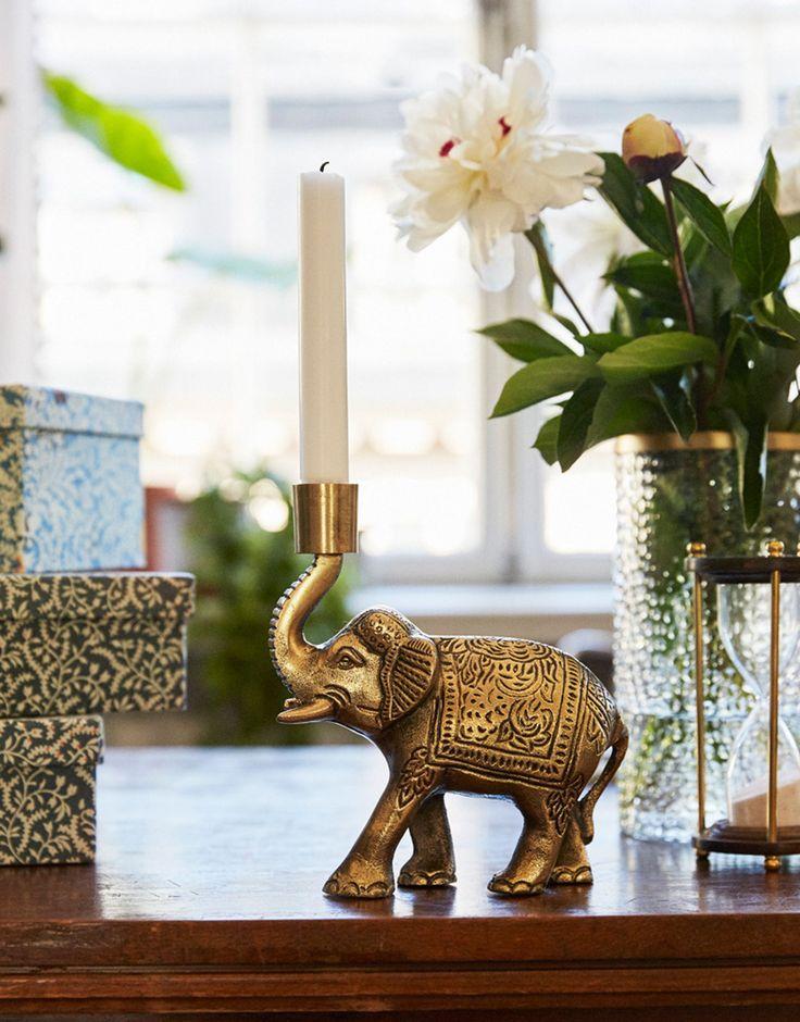 ELEPHANT CANDLE HOLDER Lysestake   Lys & Lykter   Indiska.com