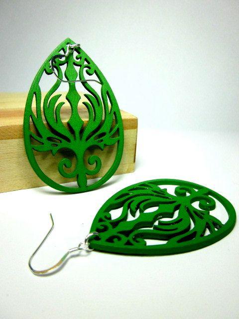 Laser Cut Earrings wood earrings green lace by CambaJewelry, $14.00