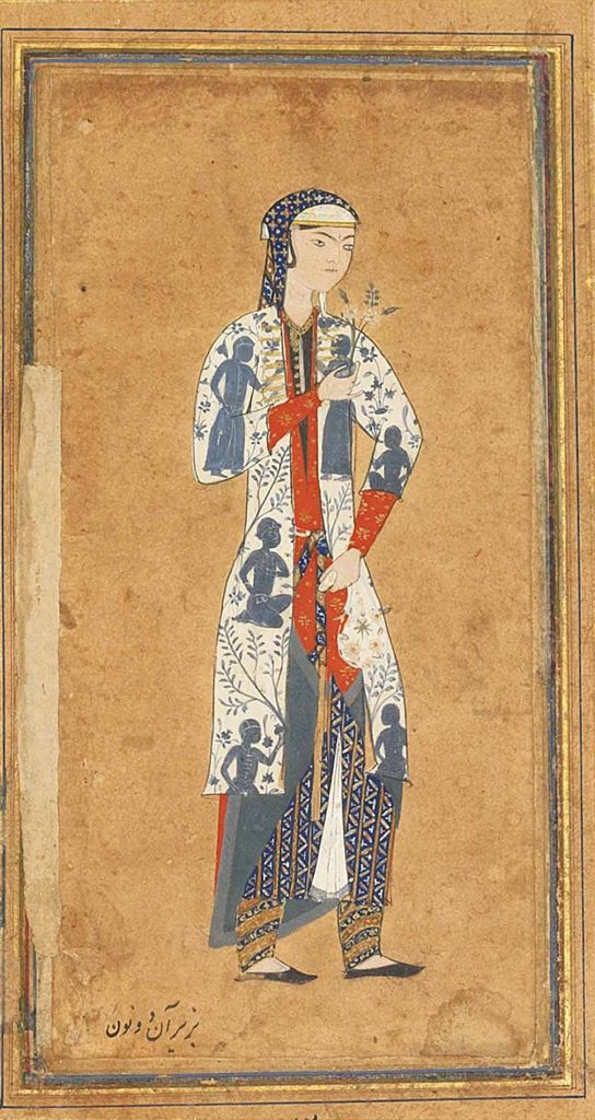 late 16 c. Northeast Iran. Portrait of a beautiful Zulaykha wearing a white coat decorated with figural representations in blue surrounded by flowering plants and trees, and geometric patterned garments and holding a flower in her left hand and a white floral cloth purse in her right hand, with gold and polychrome rules on scrolling floral margins on white ground. | Christies