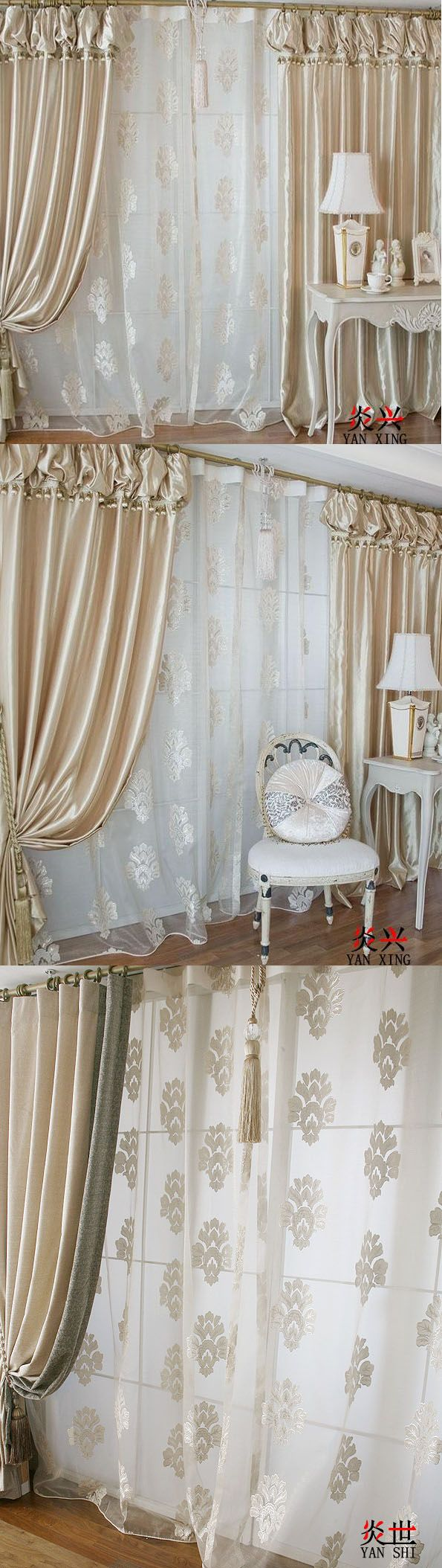 gorgeous korean top quality champagne color bedroom curtains