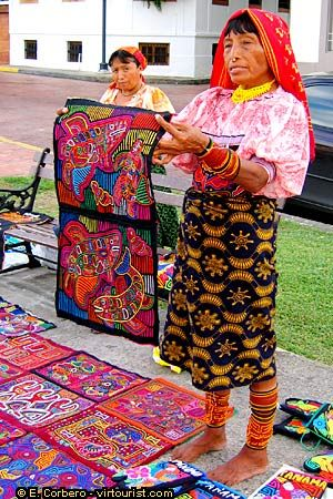 Kuna women and their Molas (a type of hand detailed quilt) love their art. Love my Panama.
