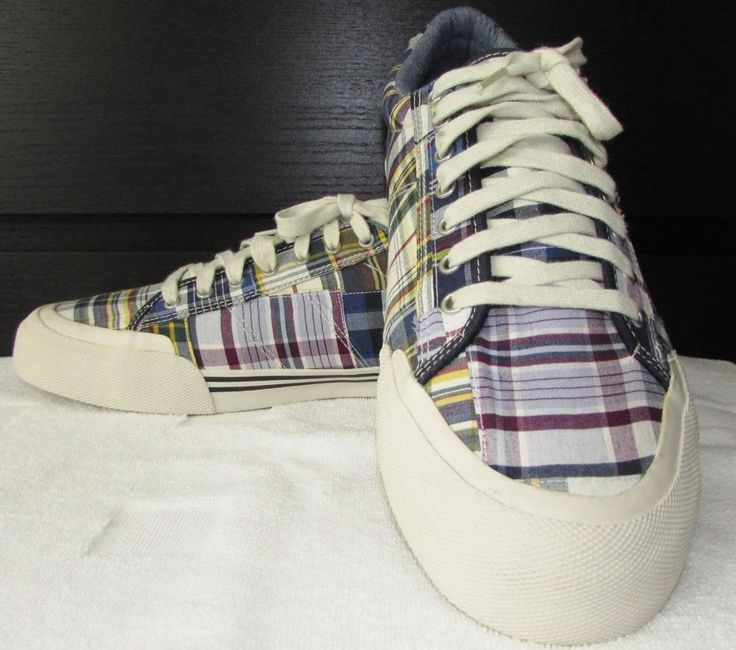 Men J.Crew Plaid Canvas Sneakers Running Shoes sz 12 USA EUC