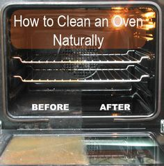 Naturally Maid Cleaning: How to Clean an Oven Naturally; Overnight Sensation        1 cup of baking soda      1/2 cup of washing soda      3 tablespoon liquid dish soap      Hot water      1/4 cup of white vinegar