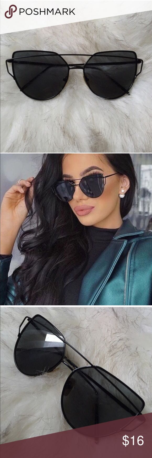 ✨Trendy All Black Cat Eye Aviator Sunglasses *RESTOCKED* Trendy All Black Cat Eye Aviator Sunglasses  Get fashionable and trendy with your sunglass game with these chic and classic all black aviator cat eye sunglasses! Features:  · Large flat panel with nose pads  · 100% UVA UVB Protection  · Antireflective coating  · Black lenses with Black metal alloy frames  · Lens Height and Width: 50 mm Accessories Sunglasses