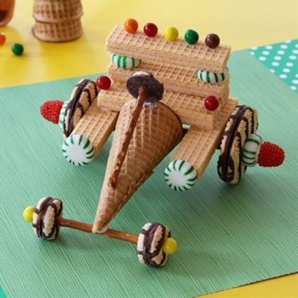 Disney Wreck it Ralph Sugar Rush Cart Party Idea - kids make their own carts, like gingerbread houses but way cooler!