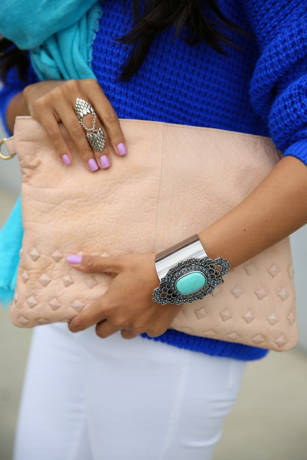 Great Colors - Leather oversized clutch, bright jewellery