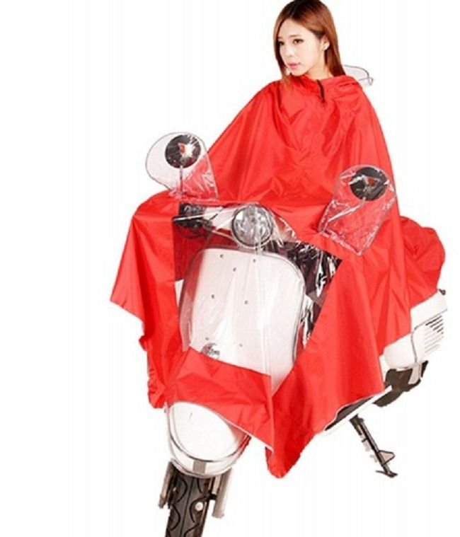 Red Solid Poncho Raincoat For Women #Raincoat