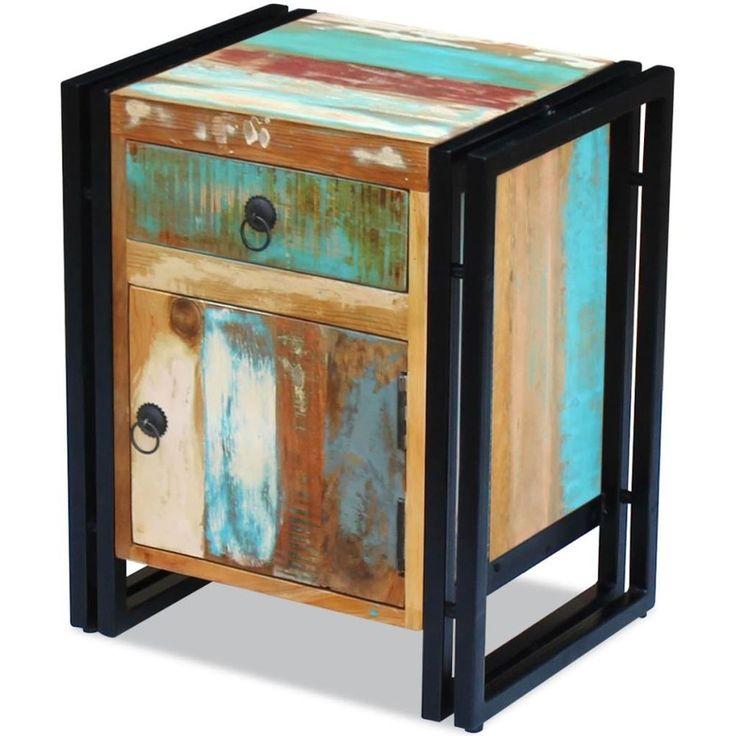 Home Bedside Cabinet Table Bedroom Nightstand Wooden Furniture Black Reclaimed #HomeBedsideCabinet