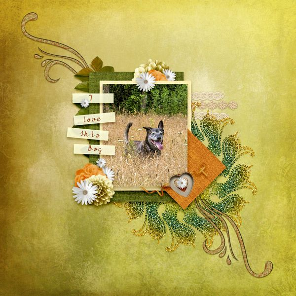 I Love This Dog by moog. Kits by Myst Designs: November Woods, All Souls Night, Bunches of Flowers, etc http://scrapbird.com/designers-c-73/k-m-c-73_516/myst-designs-c-73_516_557/