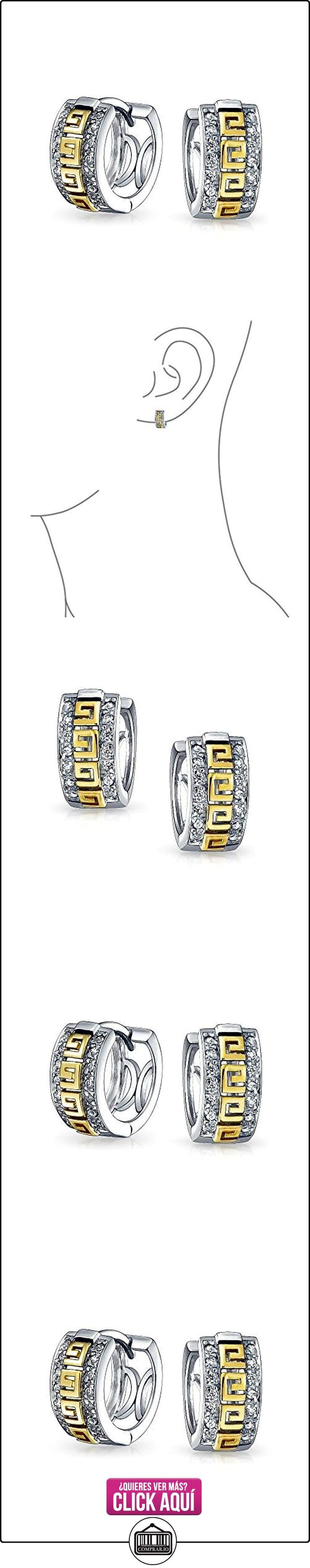 Bling Jewelry Oro Vermeil Clave Griega CZ Huggie Hoop pendiente Plata Esterlina 925  ✿ Joyas para mujer - Las mejores ofertas ✿ ▬► Ver oferta: https://comprar.io/goto/B00JJXUIVA