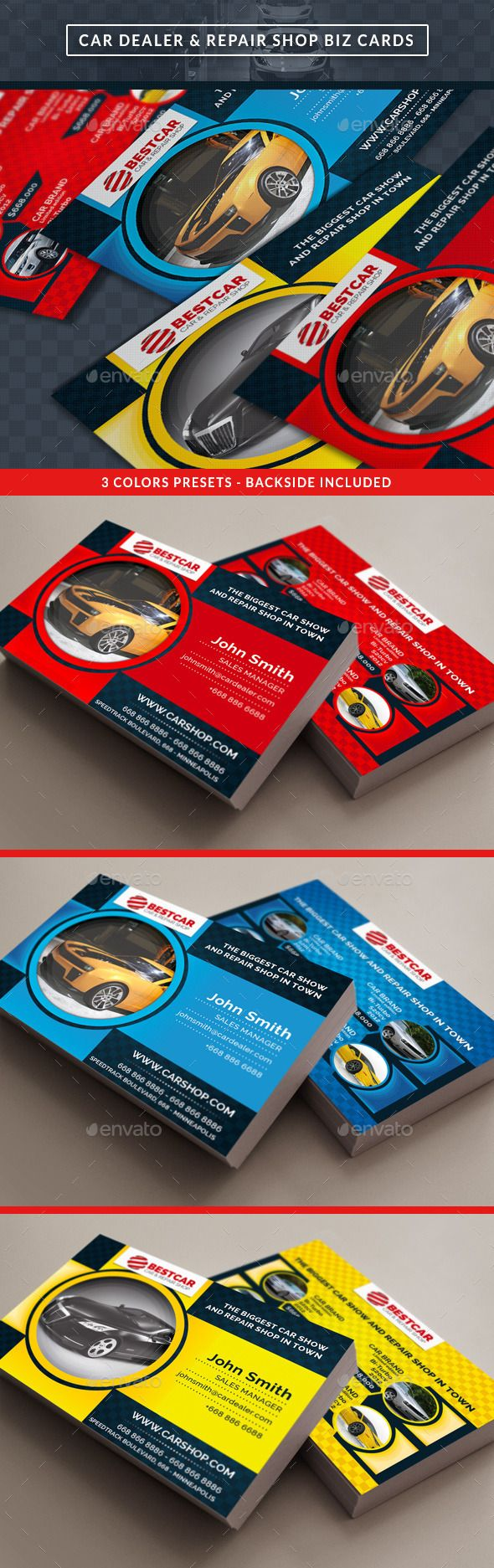Car Dealer & Auto Services Business Card - Business Cards Print Templates
