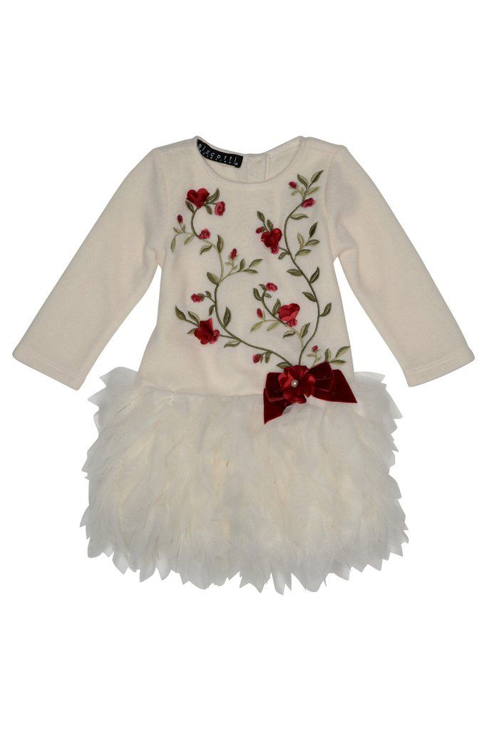 AW16 Kate Mack Toddler Girls 'Baroque Beauty' Ivory Dress With Red Flo - Liquorice Kids
