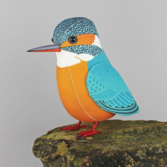 Fabric Bird Sculpture BERTIE the BLUE TIT Made by TheCottonPotter