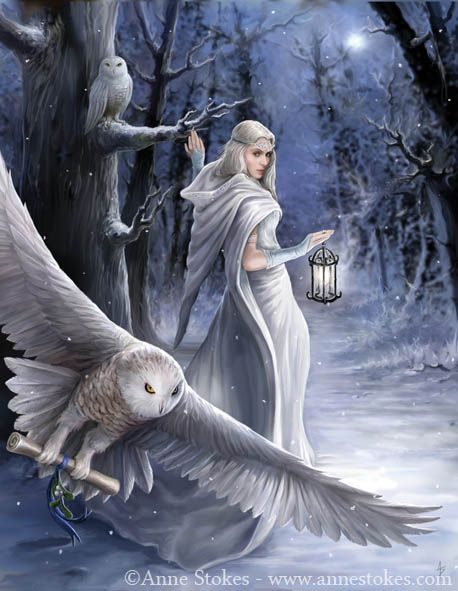 This piece reminds me of Arianrhod  Midnight Messenge In a snowy forest the owls are sent on a urgent message by this white witch. Painted as one of a set of fantasy themed Yule cards published by Eastgate Resource, and also appears as December in my 2012 calendar published by Pyramid. Thanks to model Elandria for the photo used as reference for the figure. Artwork © Anne Stokes. Available for license! http://www.annestokes.com