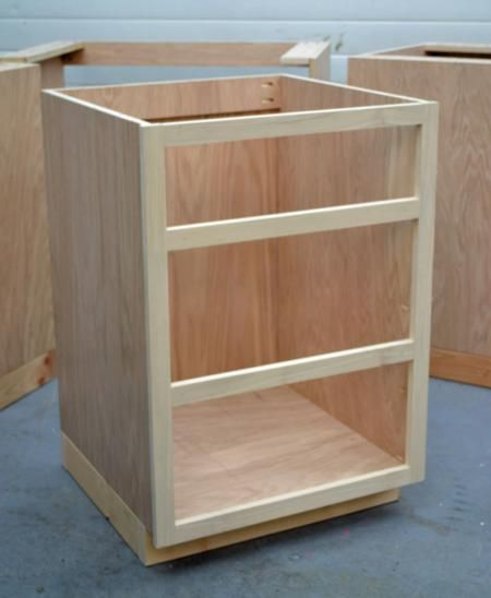 Basics about building your own base cabinets. It would be nice to have inexpensive cabinets for the laundry room.