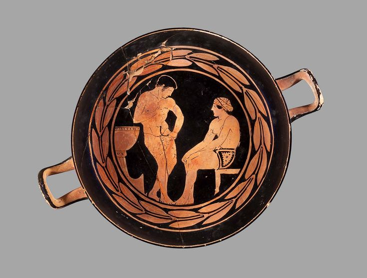 Drinking cup (kylix) depicting scenes of bathing and exercise about 450–430 B.C.  Greek Athletes | Museum of Fine Arts, Boston